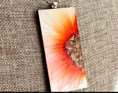 Orange Floral Pendant - Airbrushed Ink Painting