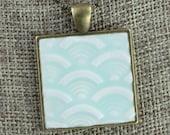Fans Glazed Porcelain-Look Charm Pendant - Pale Sky Blue and Antique Brass