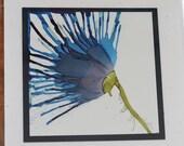 Set of 5 Handmade Greeting Cards - Floral Bloom - Blue, Teal - Hand-Painted Original Art - Blank Inside