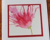Set of 3 Handmade Greeting Cards - Floral Bloom - Blank Note Card - Pink - Hand-Painted Original Art
