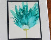 Set of 5 Handmade Greeting Cards - Floral Bloom - Teal, Blue- Hand-Painted Original Art - Blank Inside