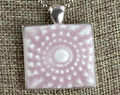 Mum Center -  Glazed Porcelain-Look Charm Pendant - Lilac and Silver