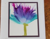 Set of 5 Handmade Greeting Cards - Floral Bloom - Teal, Blue, Purple Hand-Painted Original Art - Blank Inside