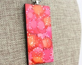 Alcohol Ink Pendant - Hand-Painted Abstract Design - Pink, Orange, Red w/Silver Accents - Colorful, Bright & Beautiful