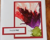 Set of 5 Handmade Greeting Cards - Floral Bloom - Happy Day - Blank Inside - Red, Purple, Yellow, Blue - Hand-Painted Original Art