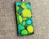 Alcohol Ink Pendant - Hand-Painted Abstract Design - Greens, Teal w/Gold Accents - Colorful, Bright & Beautiful