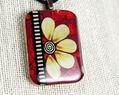 Spring Bloom Circuit - A Flower for your Valentine! - Yellow Floral RED Circuit Board Pendant