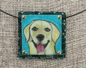 Golden Retriever Pendant - Colored Pencil Drawing on Copper + Recycled Circuit Board