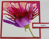 Set of 5 Handmade Greeting Cards - Floral Bloom - Hello - Happy Day - Purple, Red, Yellow - Blank Inside - Hand-Painted Original Art