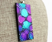 Alcohol Ink Pendant - Hand-Painted Abstract Design - Purple, Aqua, Blue w/Silver Accents - Colorful, Bright & Beautiful