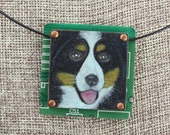 Bernese Mountain Dog / Berner Pendant - Colored Pencil Drawing on Copper + Recycled Circuit Board
