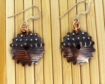 Copper Gear Earrings - Steampunk - Hand Hammered - Antique Look / Patina - Dots and Lines - Sterling Silver Ear Wires