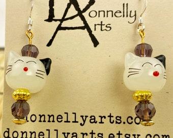 Adorable Kitty Cat Earrings - Glass Beads - Dangles - Stocking Stuffer - Fun
