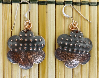 Copper Floral Earrings - Hand Hammered - Antique Look / Patina - Dots and Lines - Sterling Silver Ear Wires