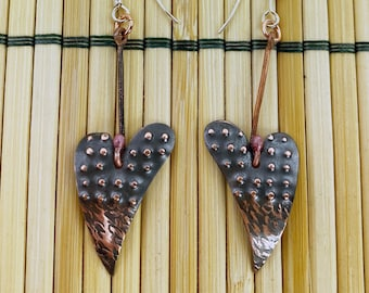 Copper Heart Dangle Earrings - Hand Hammered - Antique Look / Patina - Dots and Lines - Sterling Silver Ear Wires