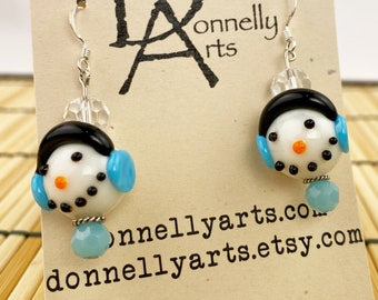 Adorable Snowman Earrings - Glass Beads - Dangles - Holiday - Winter Fun!