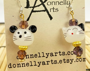 Adorable Cat & Mouse Earrings - Glass Beads - Dangles - Stocking Stuffer - Fun