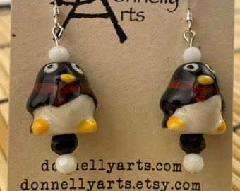 Funny Little Penguin Earrings - Ceramic Beads - Dangles - Stocking Stuffer - Fun