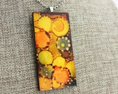 Alcohol Ink Pendant - Hand-Painted Abstract Design - Yellow, Orange, Brown w/Gold Accents - Colorful, Bright & Beautiful