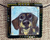 """Dachshund Pendant - """"Oscar"""" - Colored Pencil Drawing on Copper + Recycled Circuit Board"""