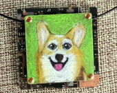 Corgi Pendant - Colored Pencil Drawing on Copper + Recycled Circuit Board