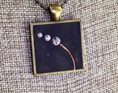 "Crystal and Copper Modern Flower ""Bling"" Pendant"