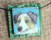 Australian Shepherd Illustrated Pendant - Colored Pencil Drawing on Copper + Recycled Circuit Board