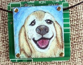 """Golden Retriever Pendant - """"Goldie"""" - Colored Pencil Drawing on Copper + Recycled Circuit Board"""