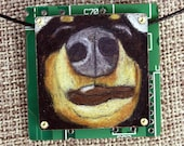"""Black & Tan Dachshund Pendant """"The Schnoz"""" - Colored Pencil Drawing on Copper + Recycled Circuit Board"""