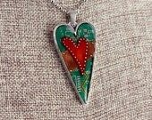Heart Pendant / Necklace - Mended Heart - Love - Friendship - Recycled Circuit Board - Copper - Colored Pencil
