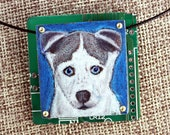 """Siberian Husky Puppy Pendant - """"Blue"""" - Colored Pencil Drawing on Copper + Recycled Circuit Board"""
