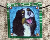 """King Charles Spaniel Pendant """"Sammie"""" - Colored Pencil Drawing on Copper + Recycled Circuit Board"""