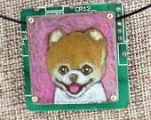 "Pomeranian Pendant ""Pinky"" - Colored Pencil Drawing on Copper + Recycled Circuit Board"