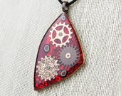 Geared in Red #1 - Recycled Circuit Board Pendant - Copper, Resin, Polymer
