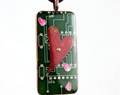 Techno-Romantic: Heart of Silicon - LOVE this Upcycled Circuit Board, Polymer Clay, Copper & Resin Pendant