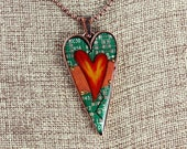 Heart Pendant / Necklace - Hearts Aflame - Mended Heart - Love - Friendship