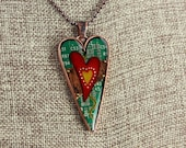 Heart Pendant / Necklace - Mended Heart - Love - Friendship - Mother's Day - Recycled Circuit Board - Copper - Colored Pencil Illustration