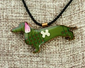 """Dachshund Pendant - """"Bone-ified Dachshund"""" - Whimsical Recycled Circuit Board, Polymer Clay, Copper & Resin Pendant"""