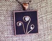 """Crystal and Copper Swirl Flower Garden """"Bling"""" Pendant"""