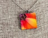 Floral Pendant - Red & Yellow - Airbrushed Ink Painting