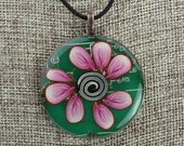 Floral Pendant - Recycled Circuit Board, Polymer Clay & Resin - Spring Swirl