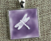 Dragonfly Glazed Porcelain-Look Charm Pendant - Purple and Silver