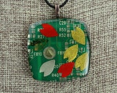 Modern Recycled Circuit Board Pendant - Polymer Clay, Copper, Resin, Origami Paper - Flow / Flower