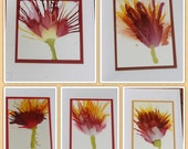 Set of 5 Handmade Greeting Cards - Floral Bloom - Red, Yellow, Orange, Pink - Hand-Painted Original Art - Blank Note Cards