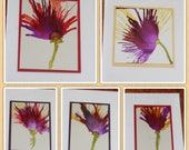 Set of 5 Handmade Greeting Cards - Floral Bloom - Purple, Red, Yellow - Hand-Painted Original Art - Blank Note Cards