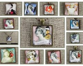 Collage Charm Pendants - Wonderful for Mother's Day - Original Victorian / Vintage Collage Prints - Antiqued Pendant Trays - Domed Glass