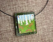 Summer Birches Pendant - Colored Pencil Drawing on Copper + Up-Cycled Circuit Board