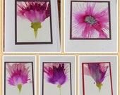 Set of 5 Handmade Greeting Cards - Flowers - Pink & Purple - Hand-Painted Original Art - Blank Note Cards