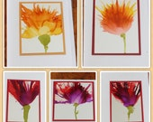 Set of 5 Handmade Greeting Cards - Floral Bloom - Yellow, Orange, Red, Purple - Hand-Painted Original Art - Blank Note Cards
