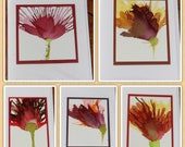 Set of 5 Handmade Greeting Cards - Floral Bloom - Red, Yellow, Orange - Hand-Painted Original Art - Blank Note Cards